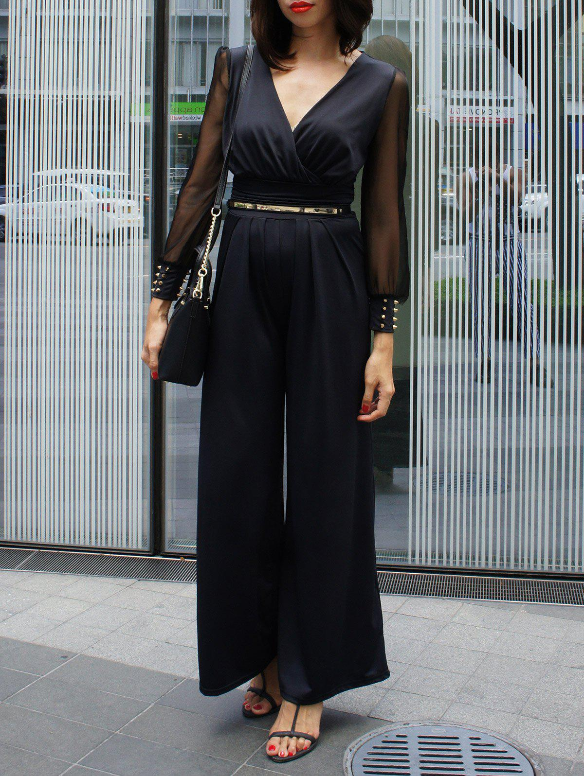 Charming V-Neck Wide-Leg Long Sleeve Jumpsuit For Women - BLACK ONE SIZE
