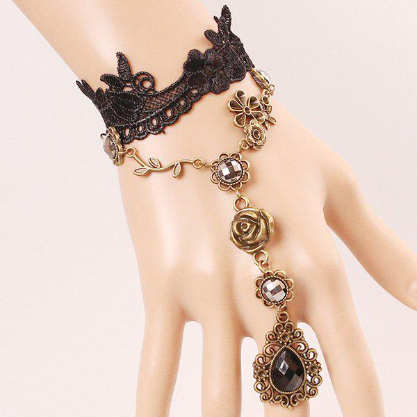Elegant Faux Gem Rose Water Drop Hollowed Lace Bracelet with Ring For Women
