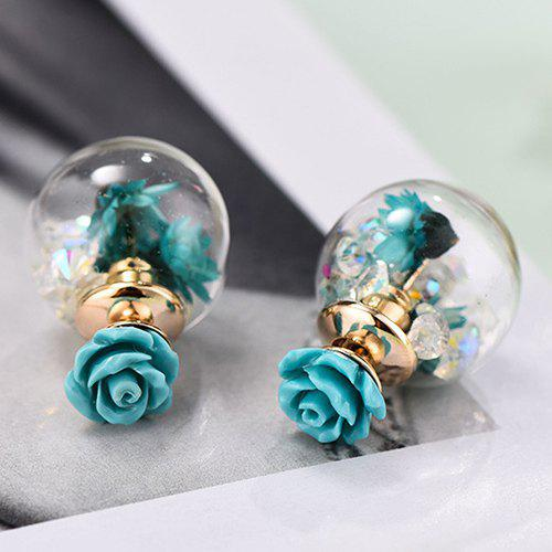 Pair of Little Daisy Bubble Earrings - LAKE BLUE