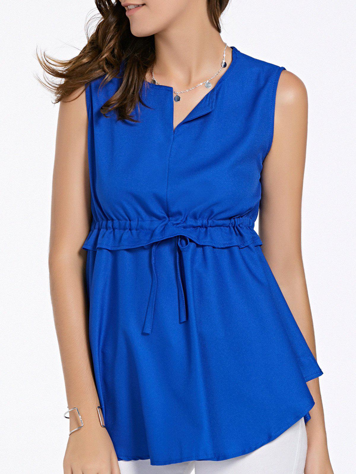 Sweet Women's V-Neck Sleeveless Double-Layered Solid Color Top - BLUE XL