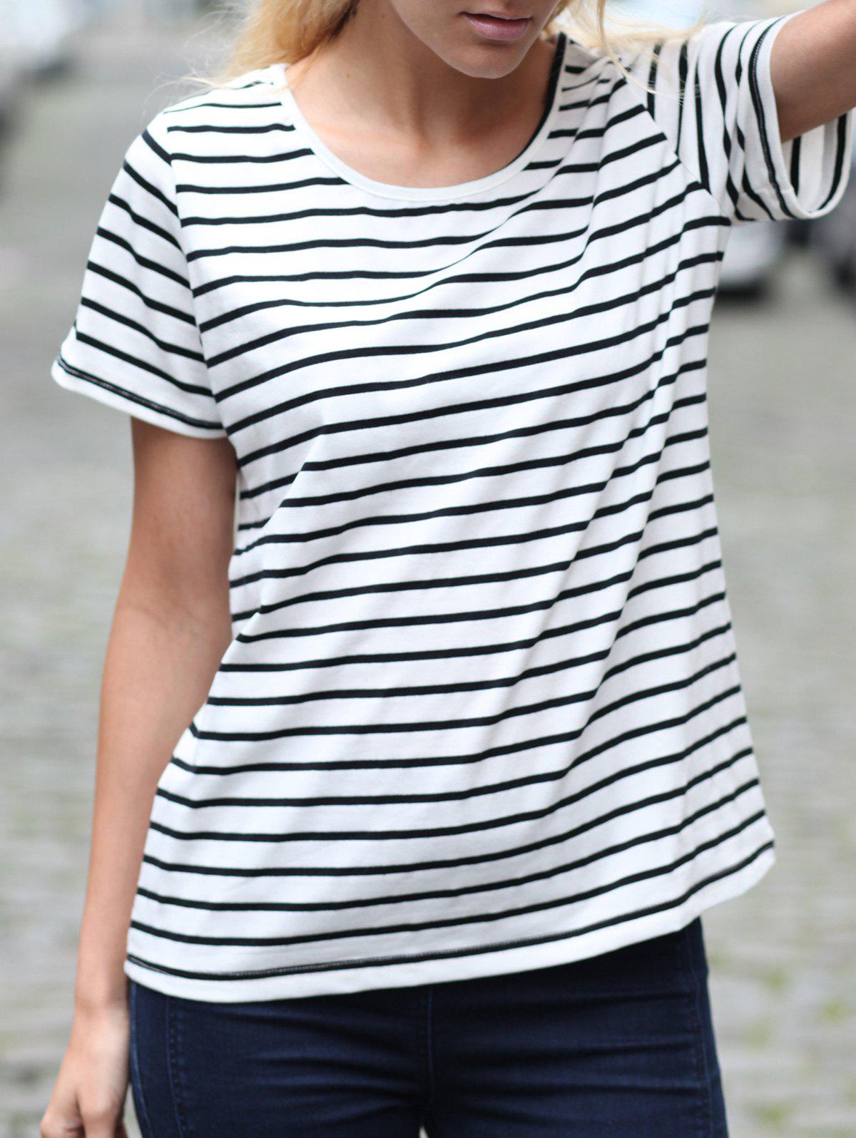 Casual Striped Cuffed Sleeve Pullover T-Shirt For Women - STRIPE L