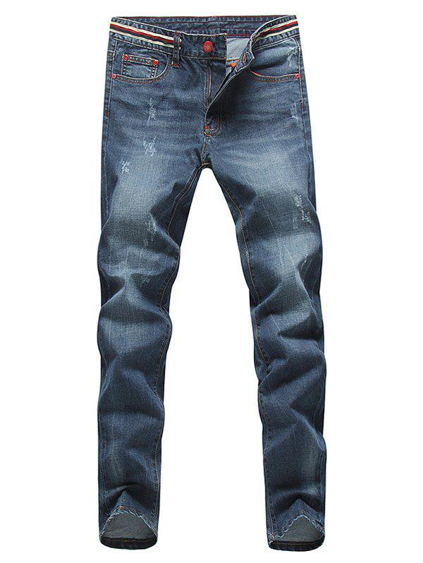 Slim Fit Straight Leg Red Metal Rivets Embellished Zipper Fly Jeans For Men