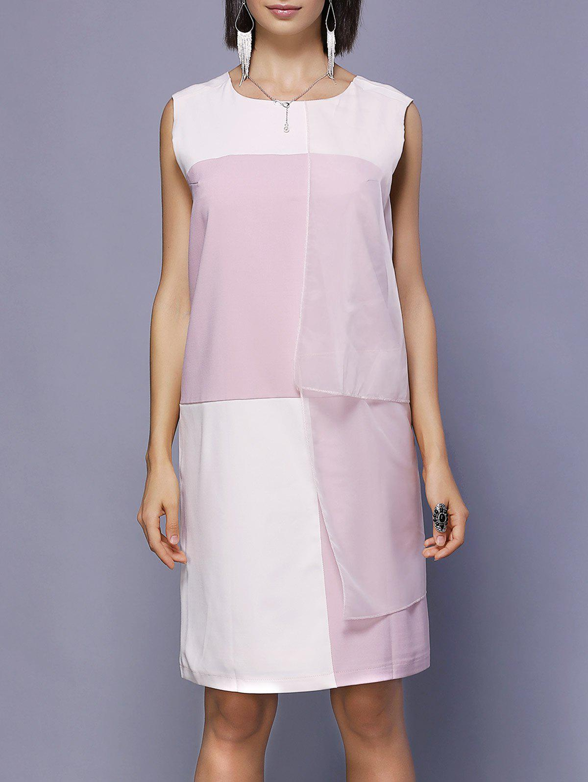 Color Block Chiffon Spliced Dress - PINK ONE SIZE(FIT SIZE XS TO M)