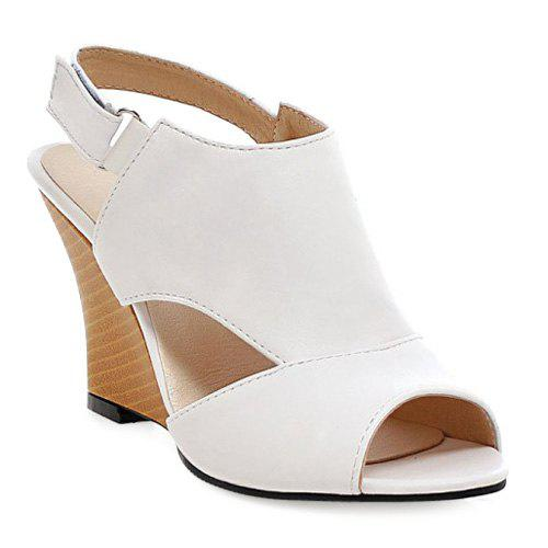 Trendy Wedge Heel and Slingback Design Women's Peep Toe Shoes - WHITE 39