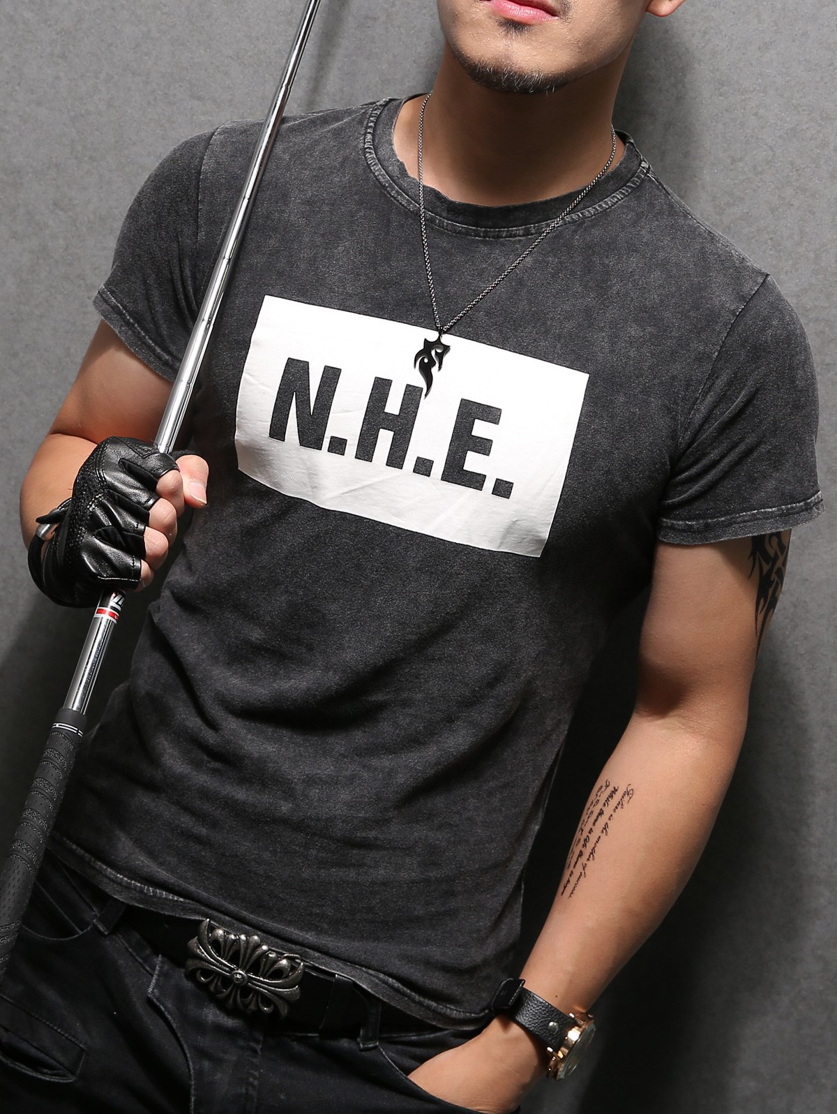 Letter Printing Round Collar Pullover Men's Short Sleeves T-Shirt