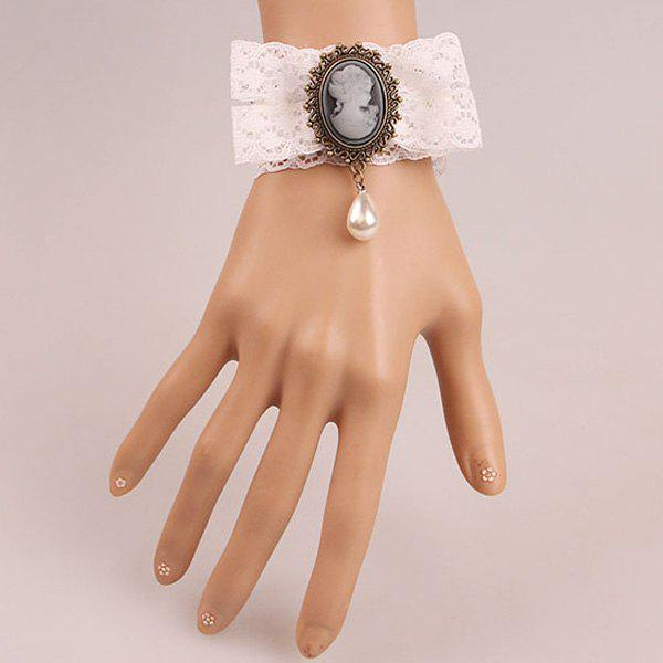 Elegant Faux Pearl Beauty Bowknot Hollowed Lace Bracelet For Women - WHITE