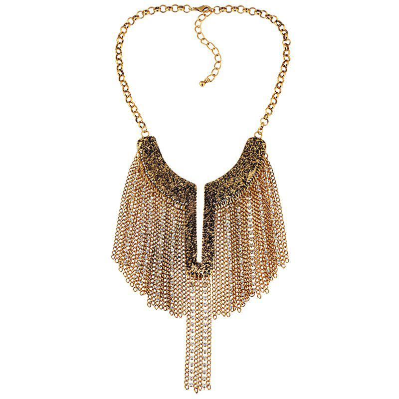 Y-Shaped Chains Pendant Necklace -  GOLDEN