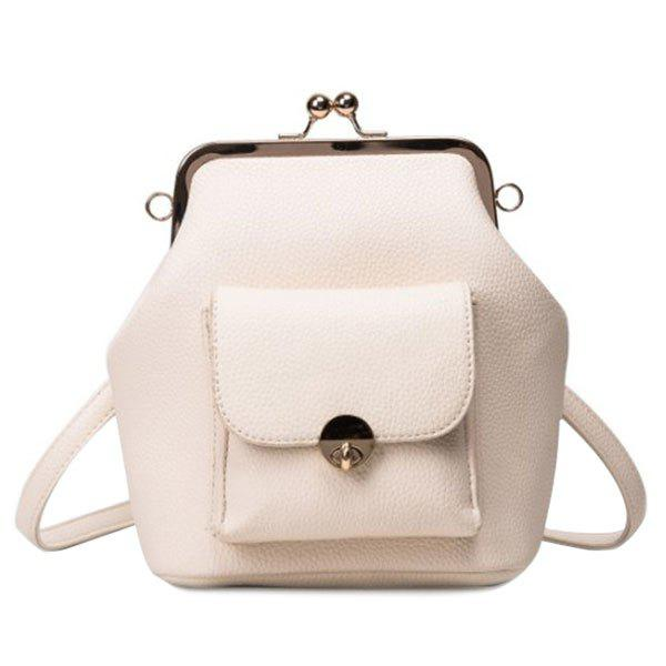 Fashionable PU Leather and Kiss Lock Design Women's Backpack - OFF WHITE