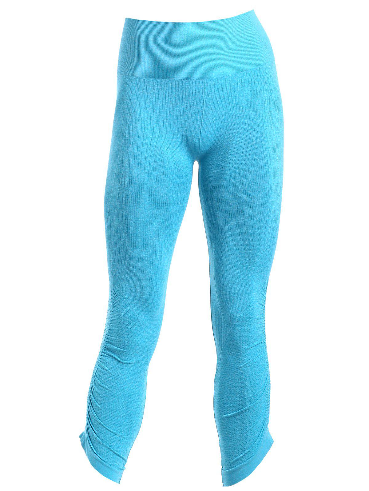 Sporty Women's Solid Color Capri Pants - BLUE M