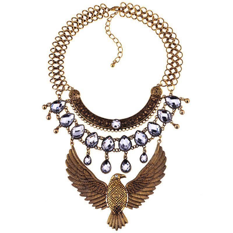 Faux Crystal Eagle Water Drop Necklace - GOLDEN