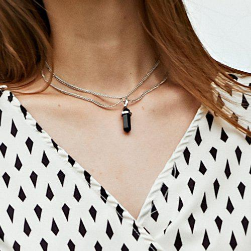 Bullet Pendant Two Layered Link Chain Necklace - BLACK