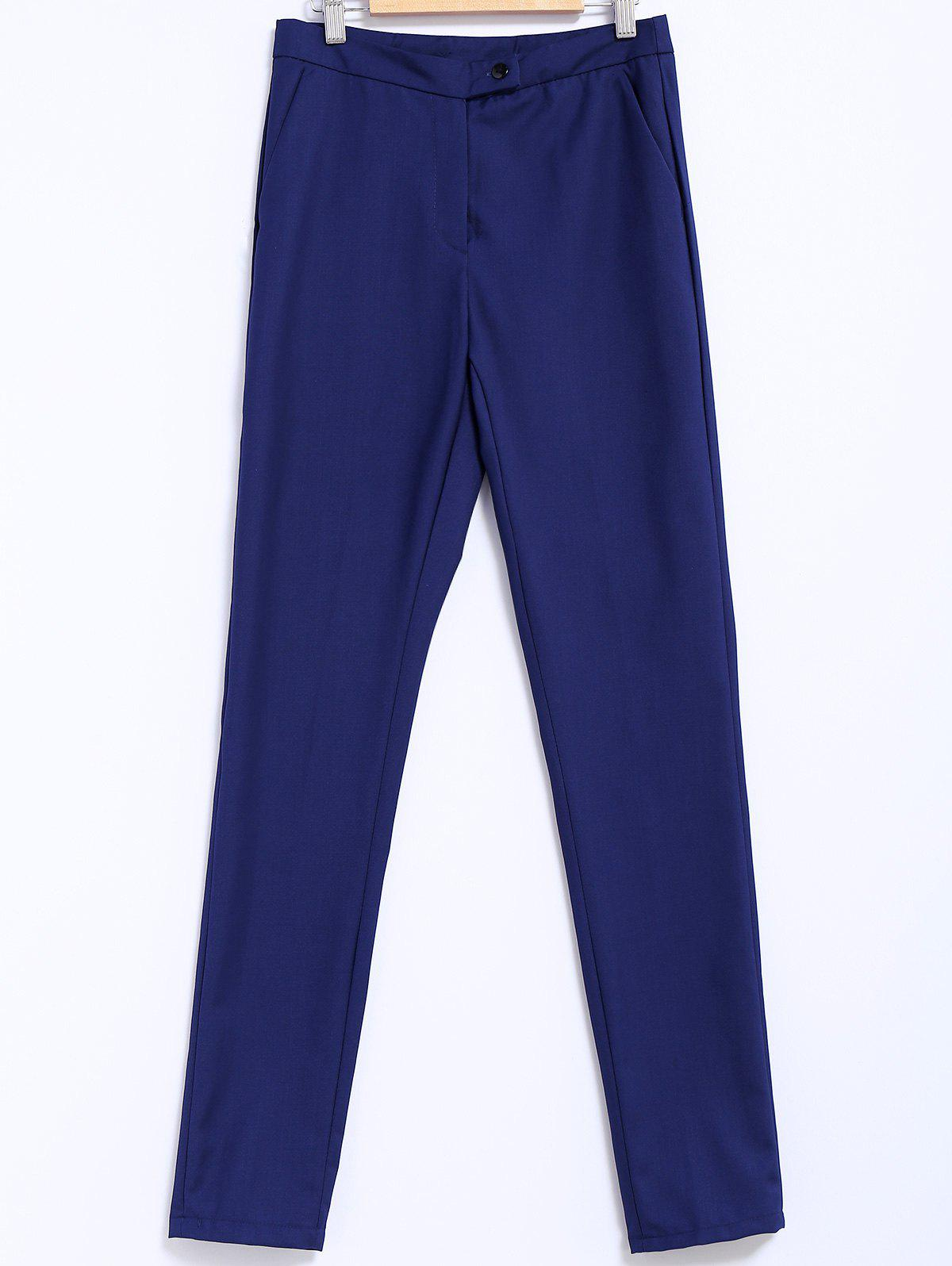 Simple Style Narrow Feet Solid Color High Waisted Slimming Women's Pants - BLUE M