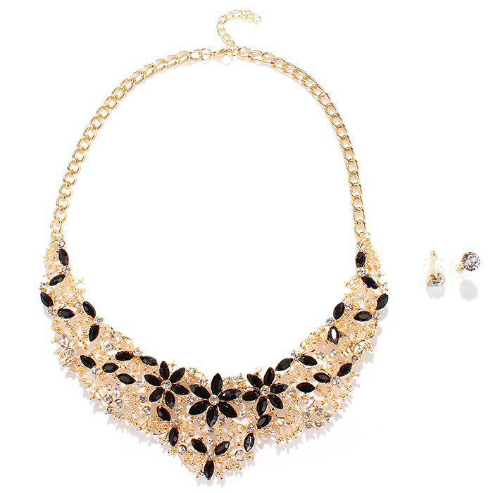 Delicate Gold Plated Alloy Faux Gem Rhinestone Floral Necklace and Earrings For Women - BLACK