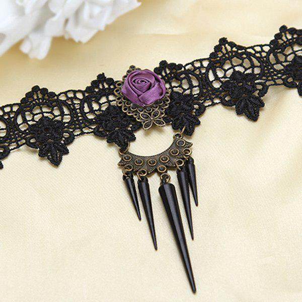 Cone Rose Hollowed Lace Necklace - BLACK