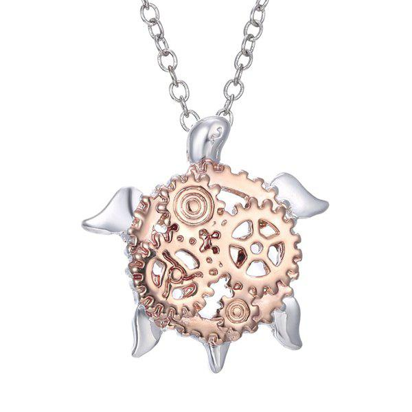 Turtle Gear Pendant Necklace - SILVER