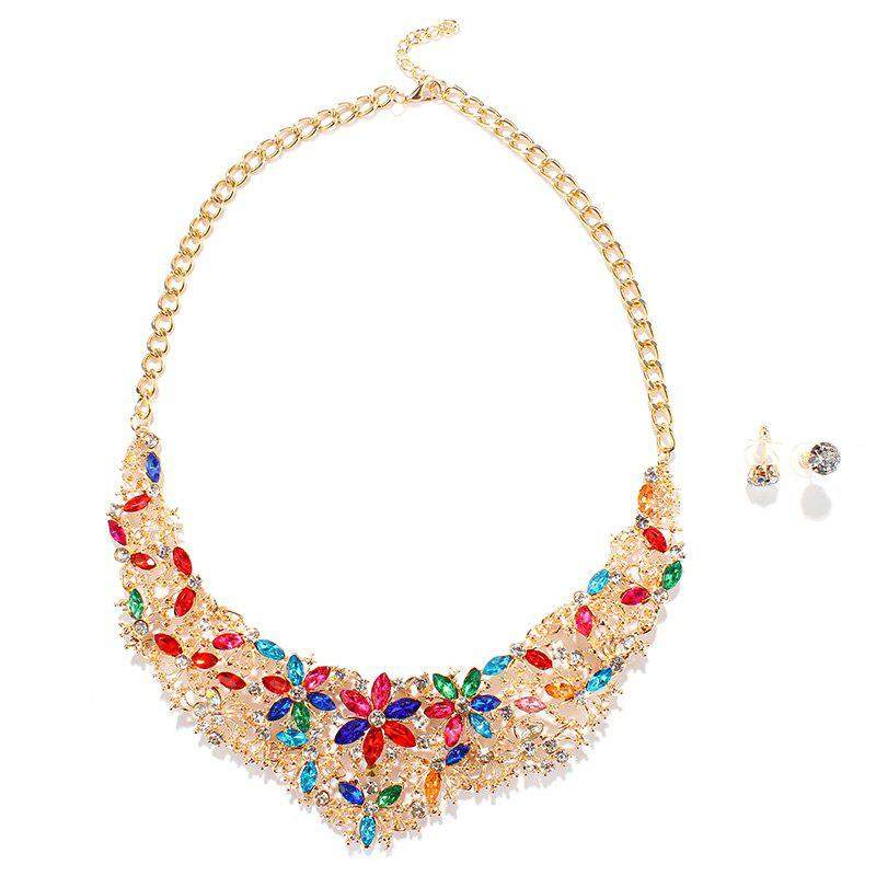Exaggerated Colorized Faux Gem Rhinestone Floral Fake Collar Necklace and Earrings For Women - GOLDEN