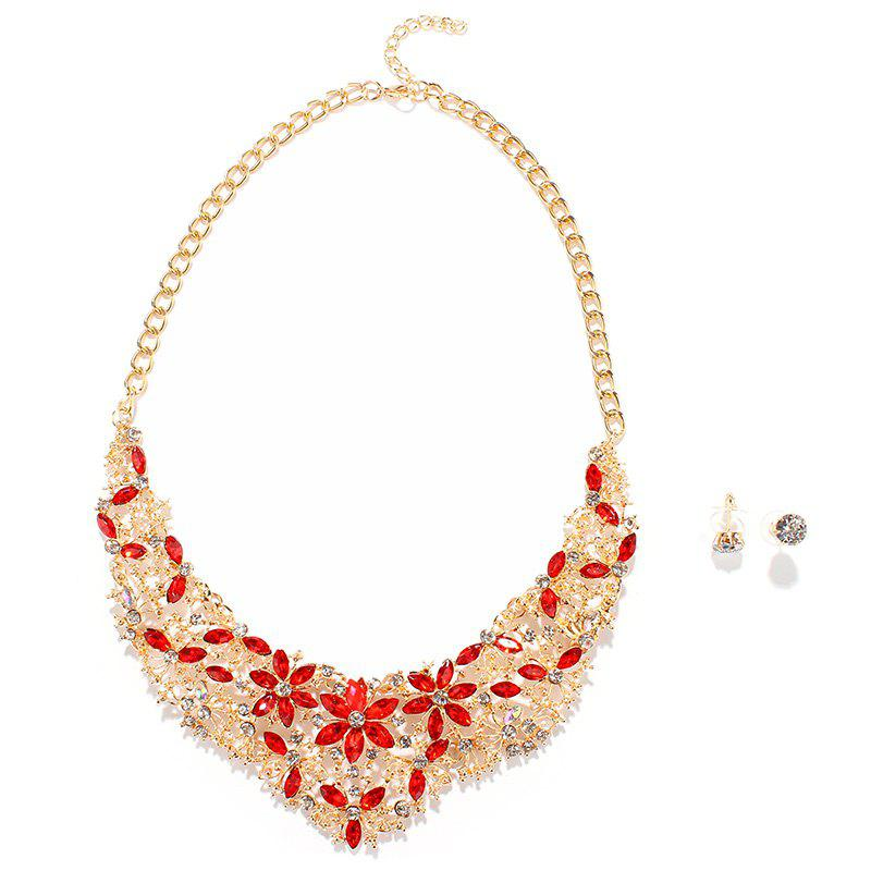 Gorgeous Faux Ruby Rhinestone Openwork Floral Fake Collar Necklace For Women - RED