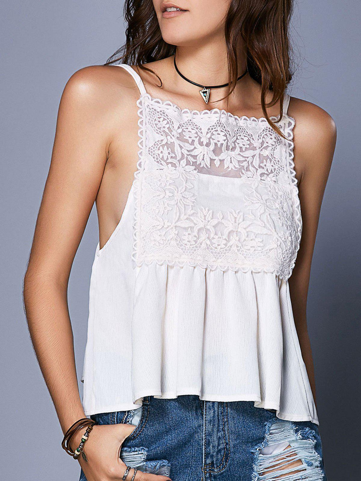 Buy Sweet Spaghetti Strap Openwork Lace See-Through Women's Tank Top WHITE