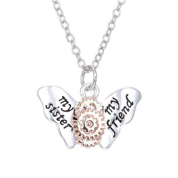 Butterfly Gear Necklace - SILVER