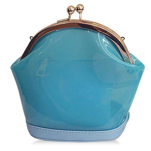 Trendy Kiss Lock and Transparent Design Women's Crossbody Bag - BLUE