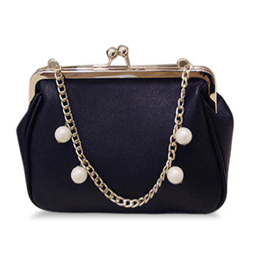 Graceful Kiss Lock and Faux Pearl Design Women's Tote Bag - BLACK