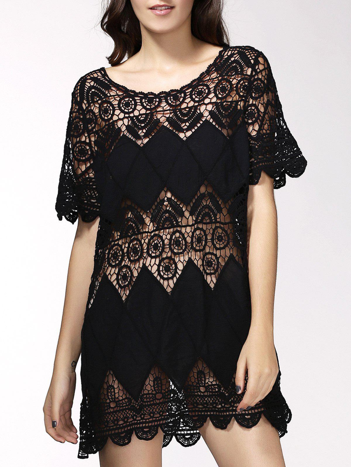 Alluring Hollow Out Short Sleeve Women's Cover Up Dress - BLACK ONE SIZE(FIT SIZE XS TO M)