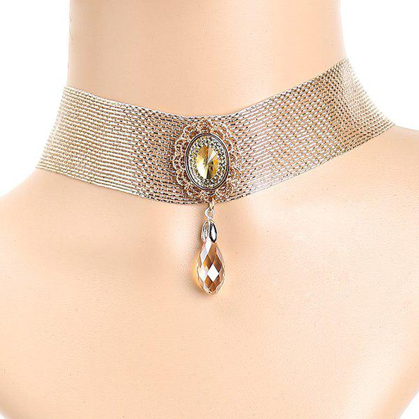 Faux Crystal Water Drop Choker - GOLDEN