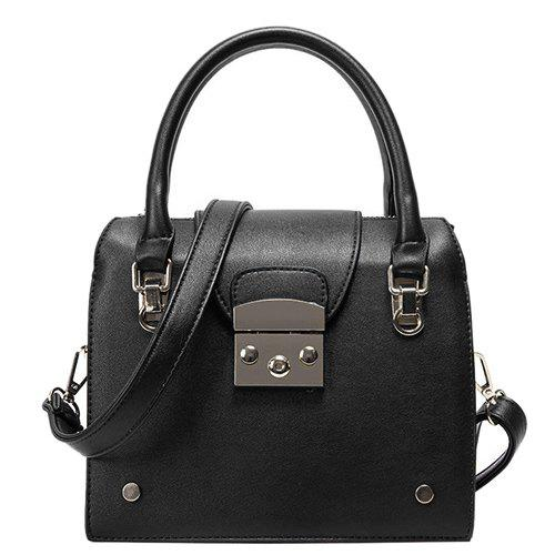 Stylish Metallic and PU Leather Design Women's Tote Bag - BLACK