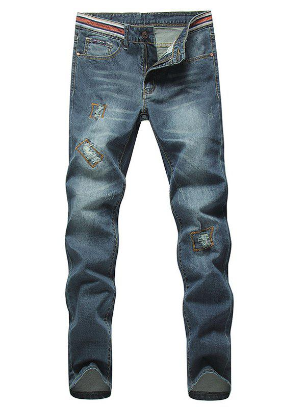 Stylish Straight Leg Bleach Wash Zipper Fly Ripped Jeans For Men - DEEP BLUE 36