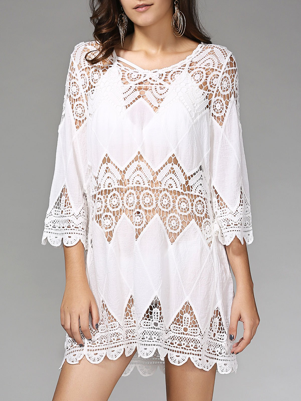 Stylish Women's 3/4 Sleeve Hollow Out Cover Up Dress - WHITE ONE SIZE(FIT SIZE XS TO M)