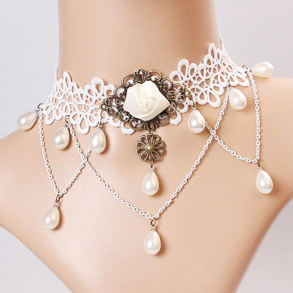 Elegant Faux Pearl Flower Tassel Hollowed Lace Necklace For Women - WHITE