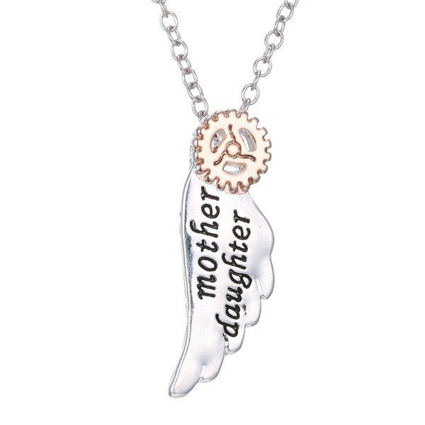 Gear Wing Pendant Necklace - SILVER