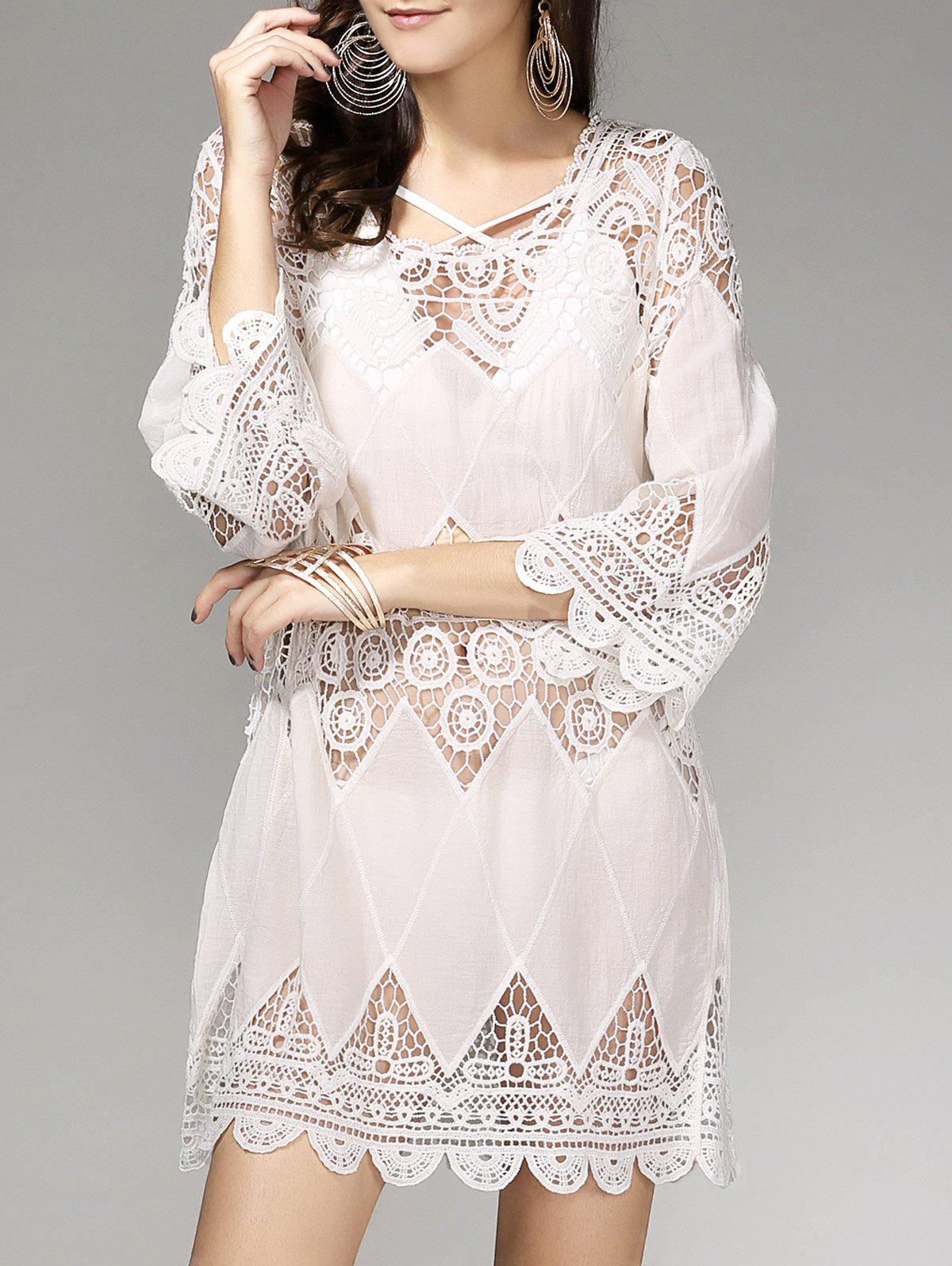 Stylish Women's 3/4 Sleeve Hollow Out Criss-Cross Cover Up Dress - OFF WHITE ONE SIZE(FIT SIZE XS TO M)