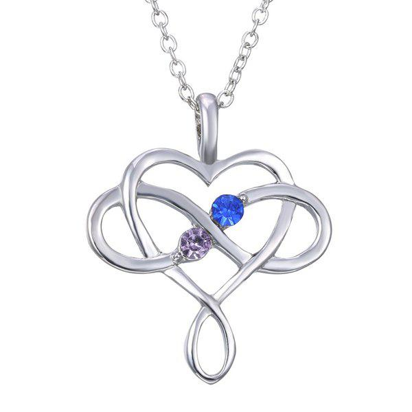 Rhinestone Heart Infinite Necklace - SILVER