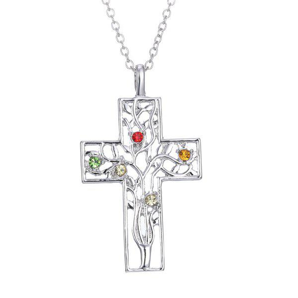 Stunning Rhinestone Cross Tree Necklace For Women - SILVER