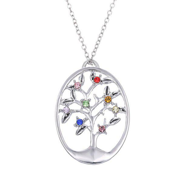 Rhinestone Oval Life Tree Necklace - SILVER