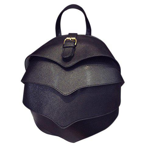 Stylish Layered and Solid Color Design Women's Satchel - BLACK