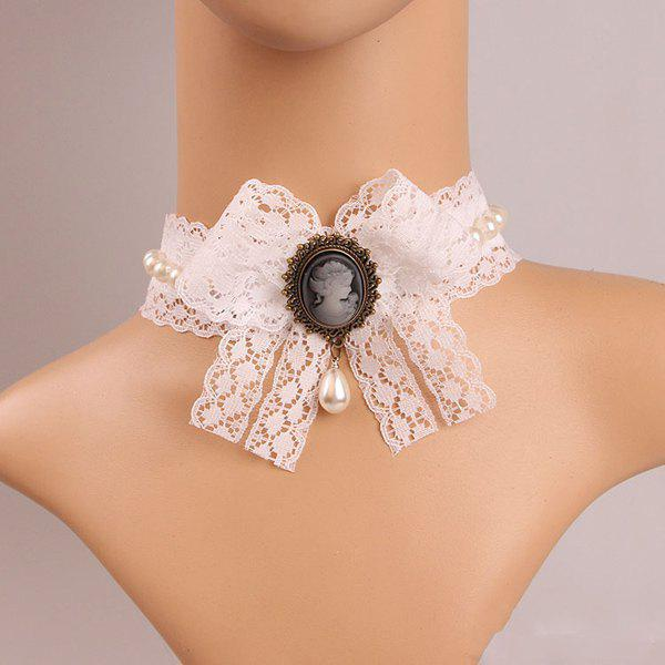 Elegant Faux Pearl Beauty Bowknot Lace Necklace For Women - WHITE