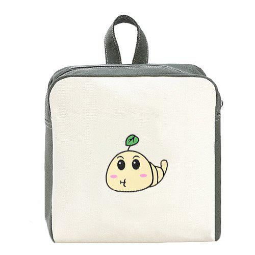 Sweet Caterpillar Pattern and Color Block Design Women's Backpack - OFF WHITE