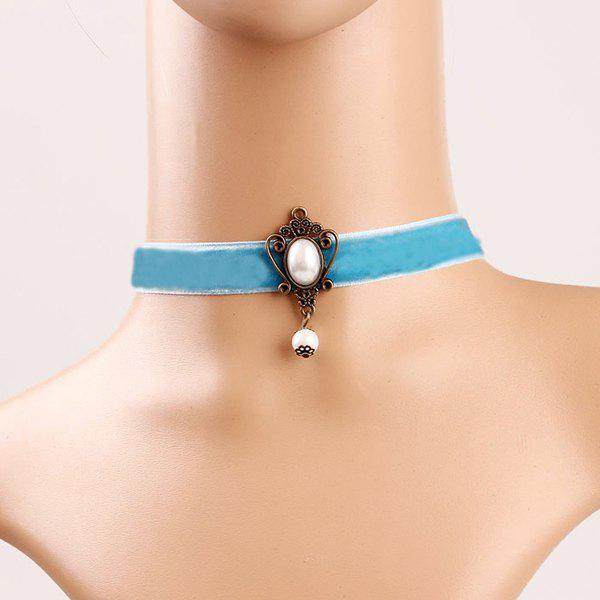 Elegant Faux Pearl Hollowed Chokers Necklace For Women - BLUE