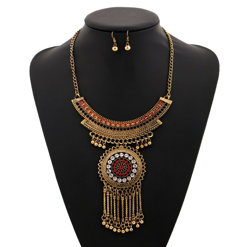 A Suit of Hollow Out Beads Necklace and Earrings - GOLDEN