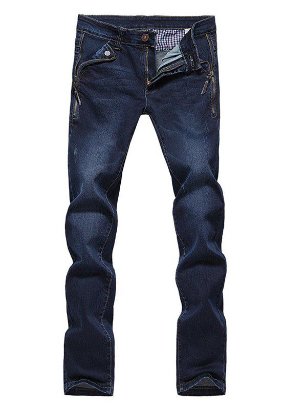 Slim Fit Straight Leg Bleach Wash Side Zip Embellished Jeans For Men - DEEP BLUE 30