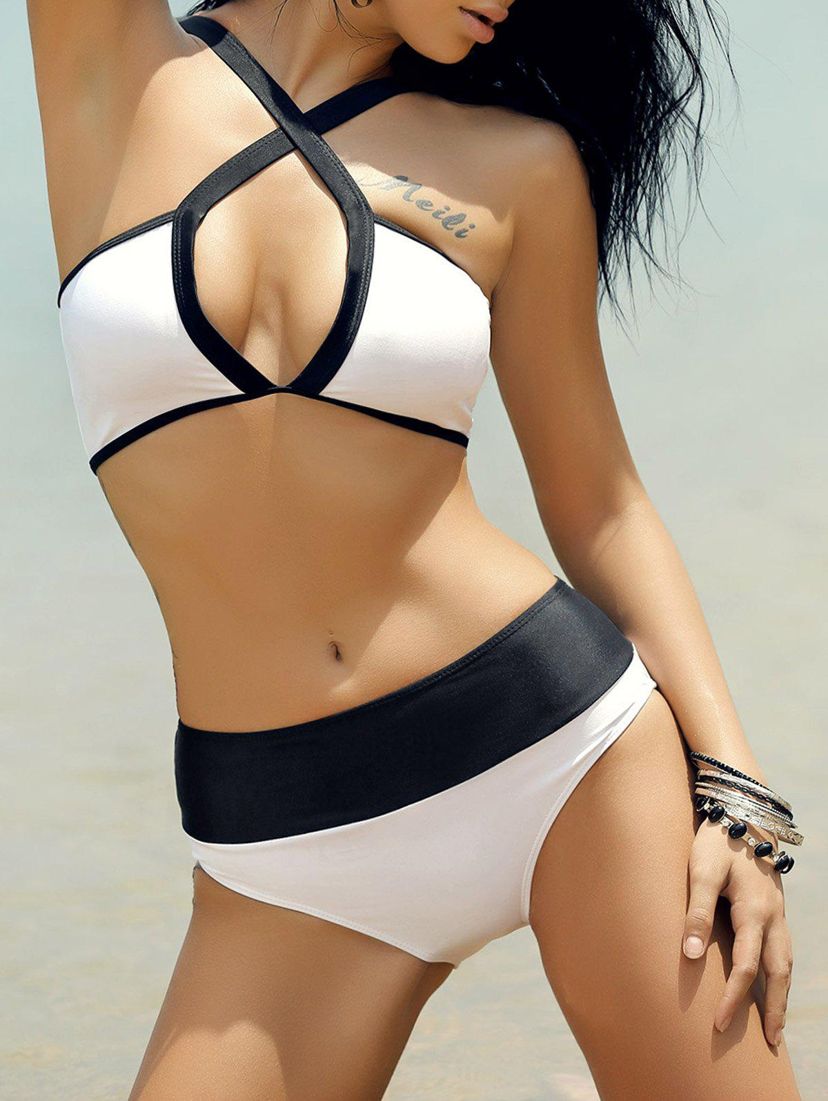 Trendy Hollow Out Hit Color Bikini For Women