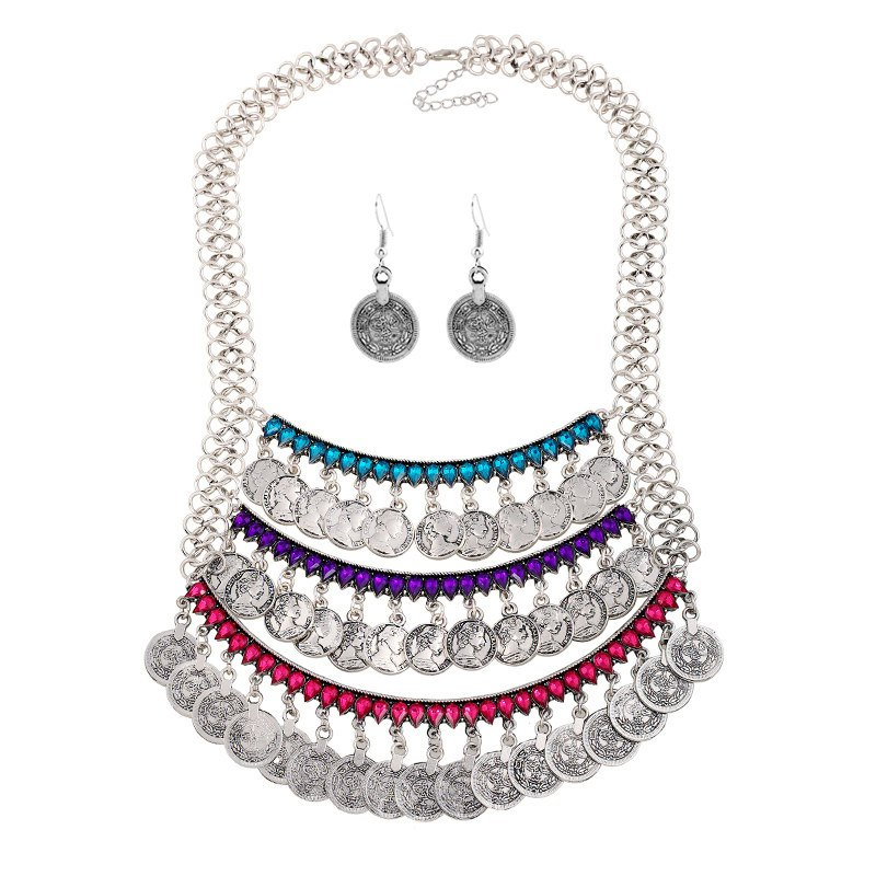 A Suit of Faux Crystal Coins Necklace and Earrings - SILVER