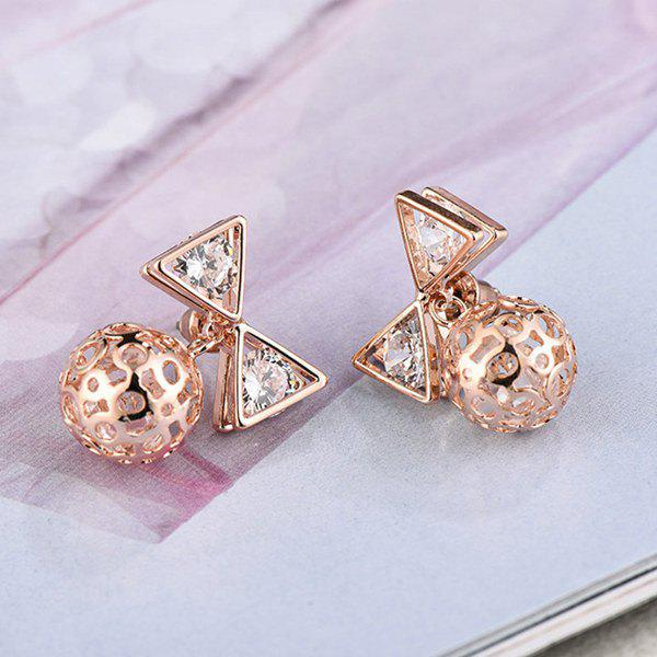 Pair of Delicate Bow Hollow Ball Pendant Stud Earrings For Women