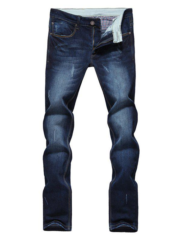 Modish Straight Leg Bleach Wash Zipper Fly Jeans For Men - DEEP BLUE 38