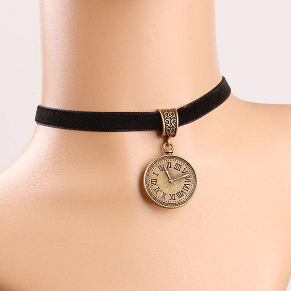 Elegant Carving Clock Chokers Necklace For Women - COLORMIX