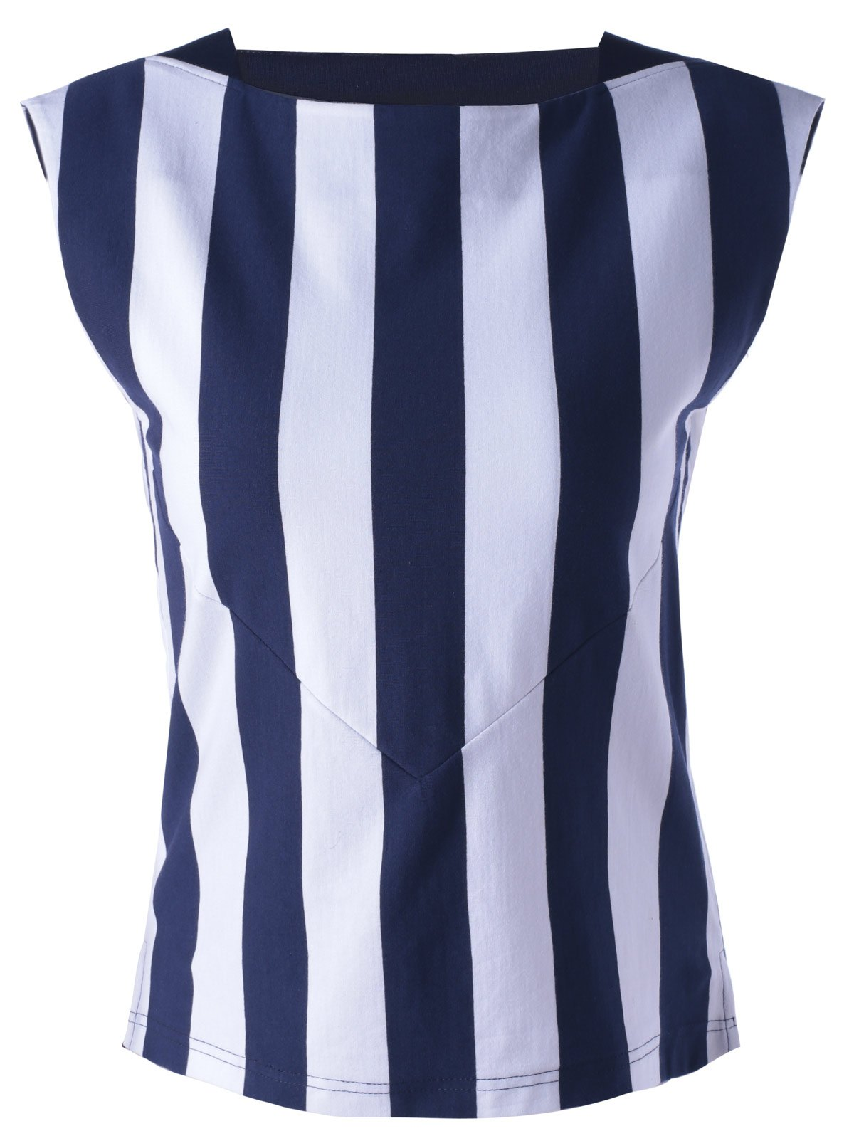 Fashionable Round Collar Spliced Stripe Women's Tank Top