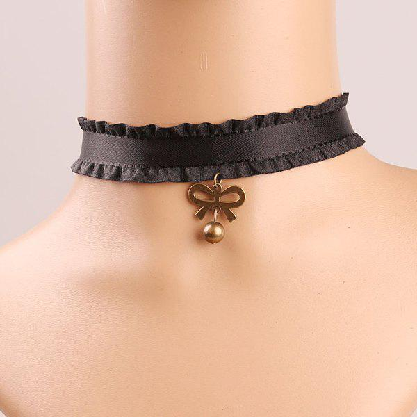 Elegant Carving Bowknot Lace Chokers Necklace For Women - BLACK