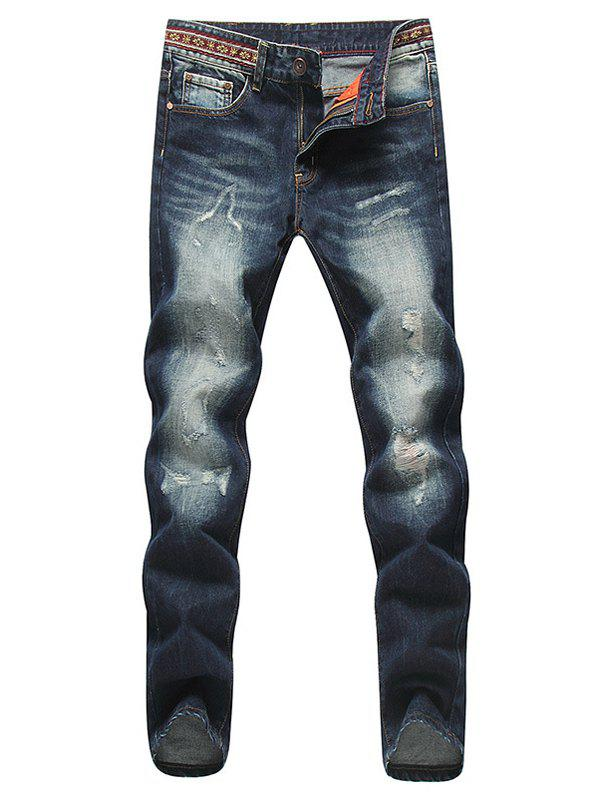 Modish Straight Leg Bleach Wash Zipper Fly Ripped Jeans For Men
